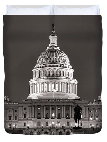 United States Capitol At Night Duvet Cover