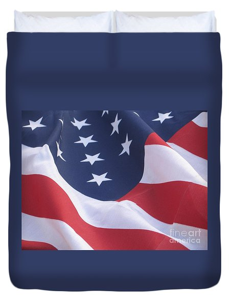Duvet Cover featuring the photograph United States Flag  by Chrisann Ellis
