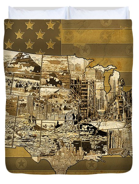 United States Flag Map Vintage Duvet Cover