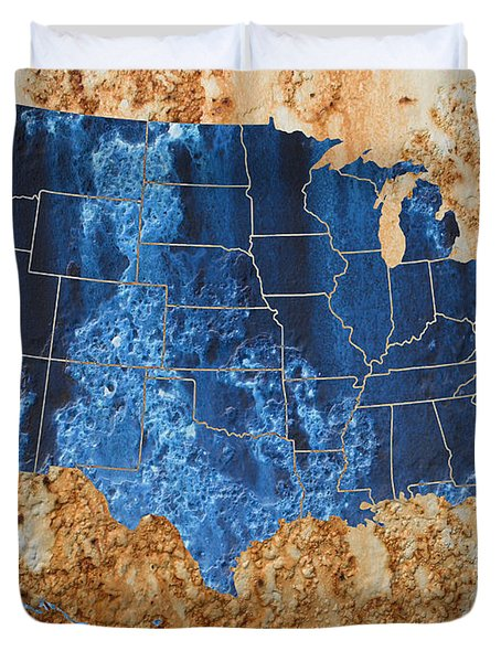 United States In Navy Blue And Rust Duvet Cover