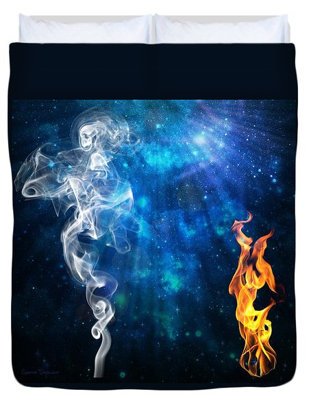 Universal Energies At War Duvet Cover by Leanne Seymour
