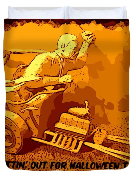 Universal Mosters Mummys Chariot Card Duvet Cover by John Malone
