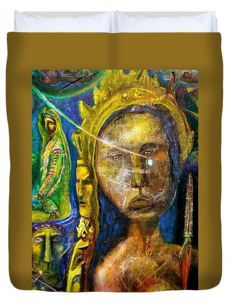 Universal Totem Duvet Cover by Kicking Bear  Productions