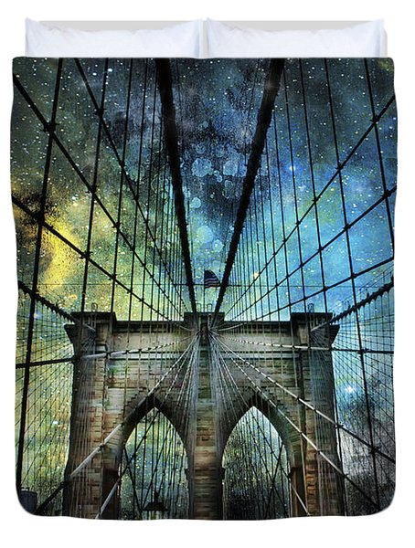 Universe And The Brooklyn Bridge Duvet Cover