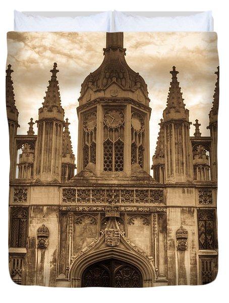 University Entrance Door Sepia Duvet Cover by Douglas Barnett