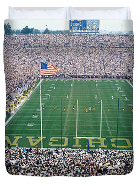 University Of Michigan Football Game Duvet Cover by Panoramic Images