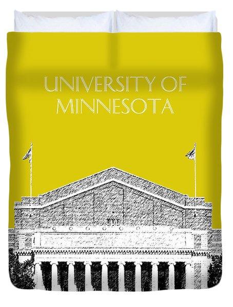 University Of Minnesota 2 - Northrop Auditorium - Mustard Yellow Duvet Cover