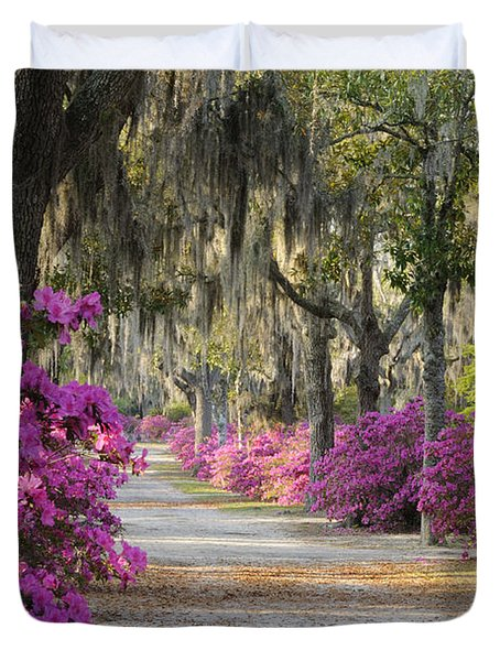 Duvet Cover featuring the photograph Unpaved Road With Azaleas And Oaks by Bradford Martin