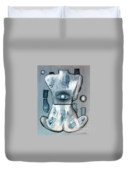 Duvet Cover featuring the painting Listen Via Your Eyes by Fei A