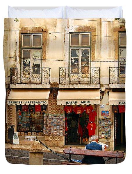 Lisbon Street Scene Duvet Cover