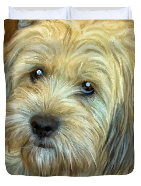 Duvet Cover featuring the painting Chewy by Michael Pickett