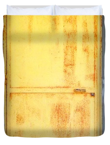 Duvet Cover featuring the photograph Unused Door by Clare Bevan