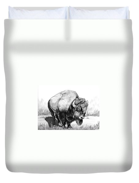 Up Close And Personal With Bison Duvet Cover by Cheryl Poland