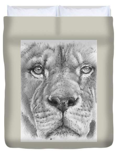 Up Close Lion Duvet Cover by Barbara Keith