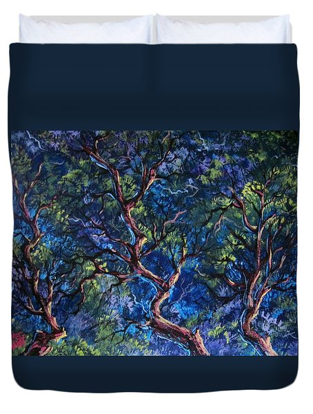 Duvet Cover featuring the painting Up In The Tree Tops by Megan Walsh