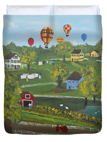 Duvet Cover featuring the painting Up Up And Away by Virginia Coyle