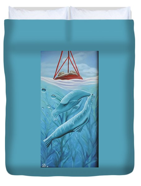 Duvet Cover featuring the painting Uphoria by Dianna Lewis