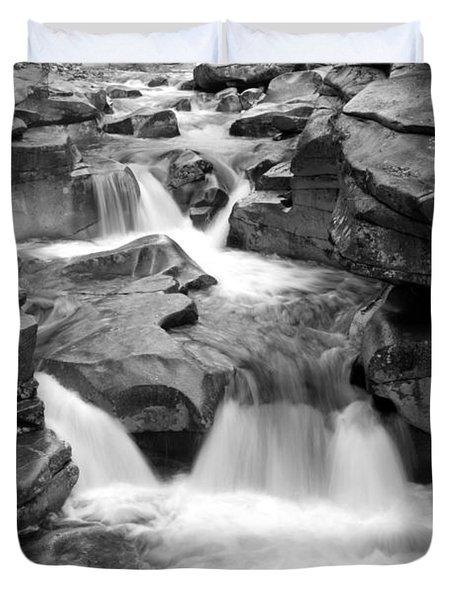 Upper Ammonoosuc Falls Black And White Duvet Cover by Brett Pelletier