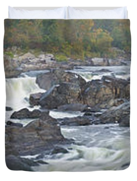 Upper Great Falls Panorama Duvet Cover by Benjamin Reed