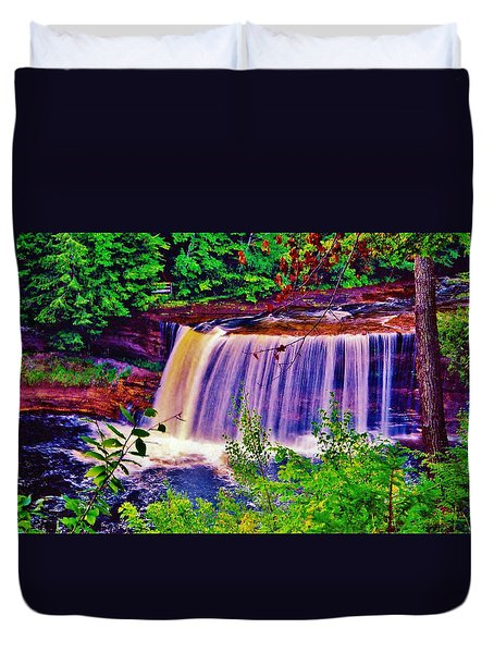 Duvet Cover featuring the photograph Upper Tahquamenon Falls  by Daniel Thompson