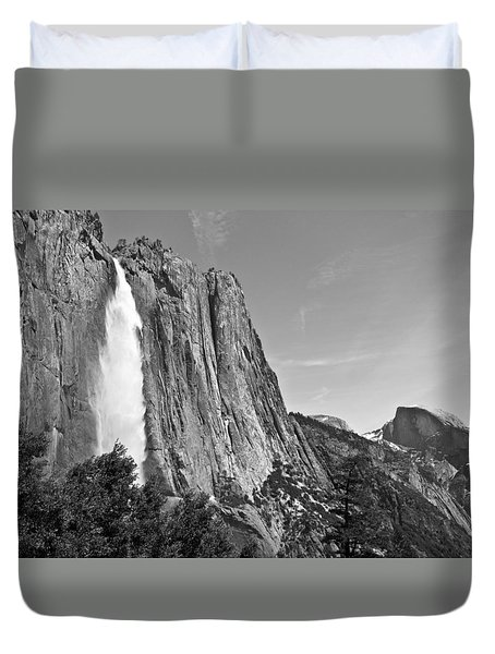 Upper Yosemite Fall With Half Dome Duvet Cover