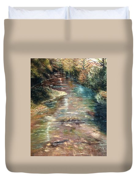 Duvet Cover featuring the painting Upstream by Karen Zuk Rosenblatt
