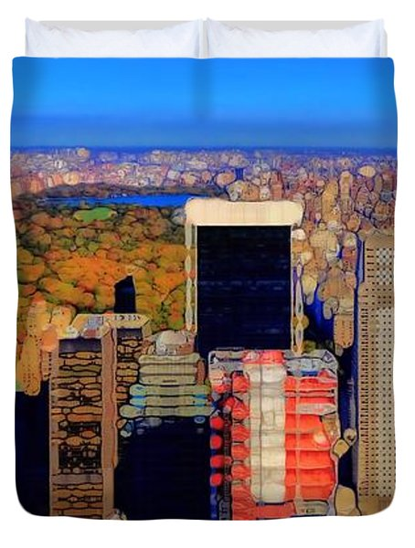 Urban Abstract New York City Skyline And Central Park Duvet Cover by Dan Sproul