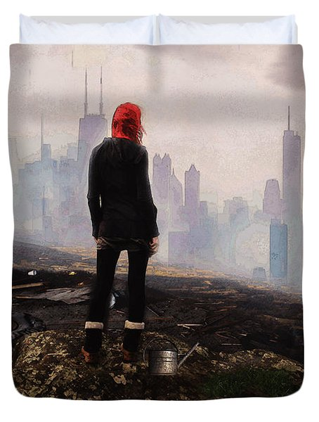 Duvet Cover featuring the digital art Urban Human by Galen Valle