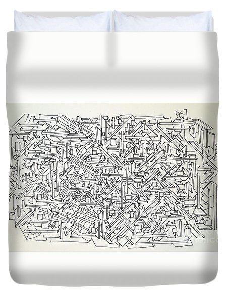 Duvet Cover featuring the drawing Urban Planning by Nancy Kane Chapman