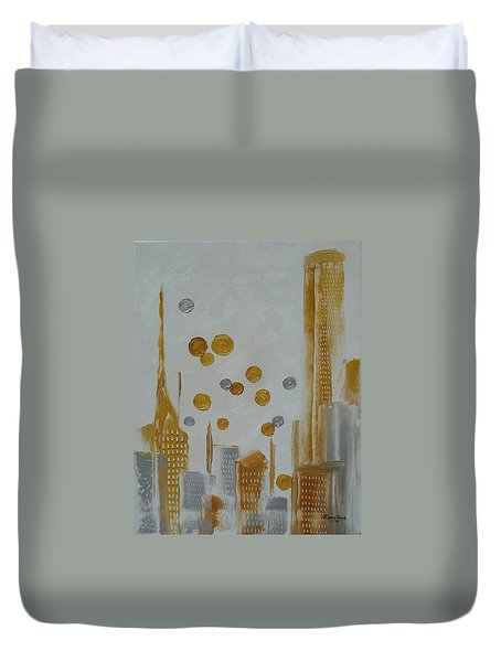 Duvet Cover featuring the painting Urban Polish by Judith Rhue
