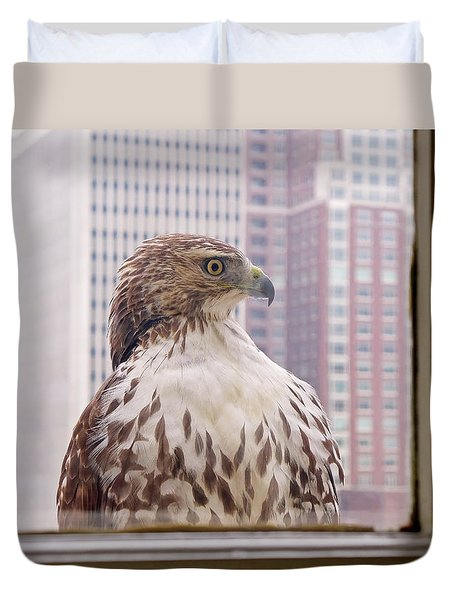 Duvet Cover featuring the photograph Urban Red-tailed Hawk by Rona Black