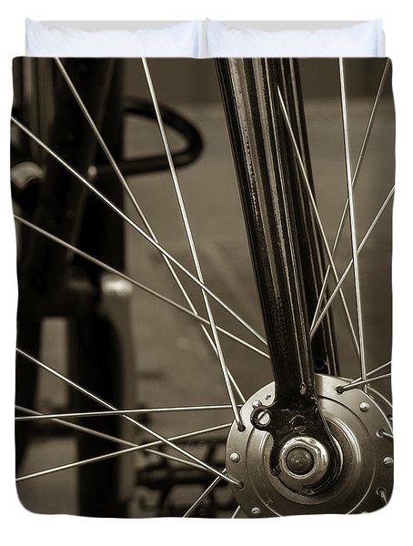 Urban Spokes In Sepia Duvet Cover