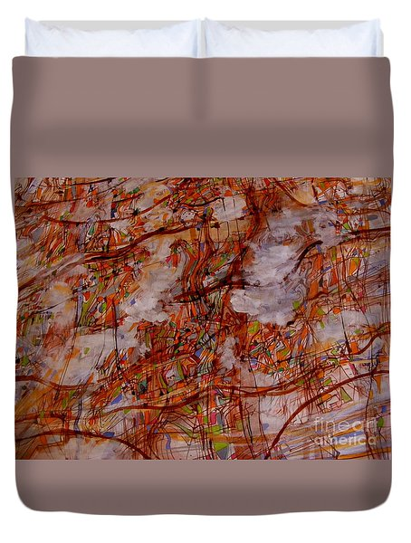 Duvet Cover featuring the painting Urban Sprawl 2 by Nancy Kane Chapman