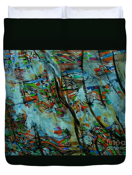 Duvet Cover featuring the painting Urban Sprawl by Nancy Kane Chapman