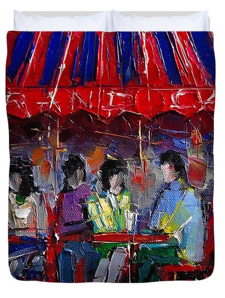 Urban Story - Grand Cafe Duvet Cover by Mona Edulesco