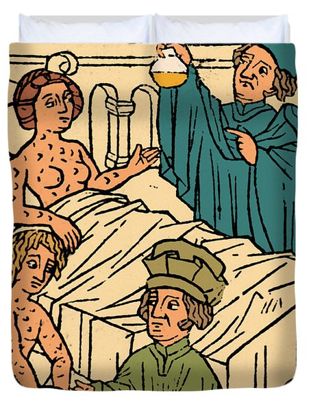 Uroscopy Patients With Syphilis 1497 Duvet Cover by Science Source
