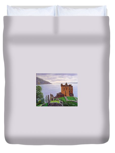 Duvet Cover featuring the painting Urquhart Castle Loch Ness Scotland by Fran Brooks