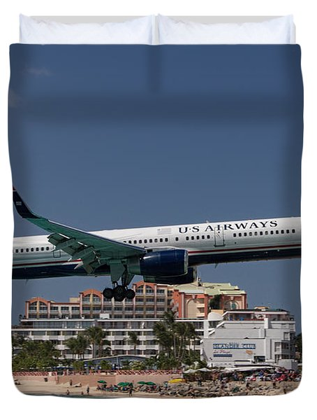 U S Airways At St Maarten Duvet Cover