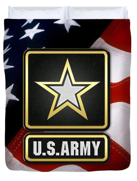 U. S. Army Logo Over American Flag. Duvet Cover