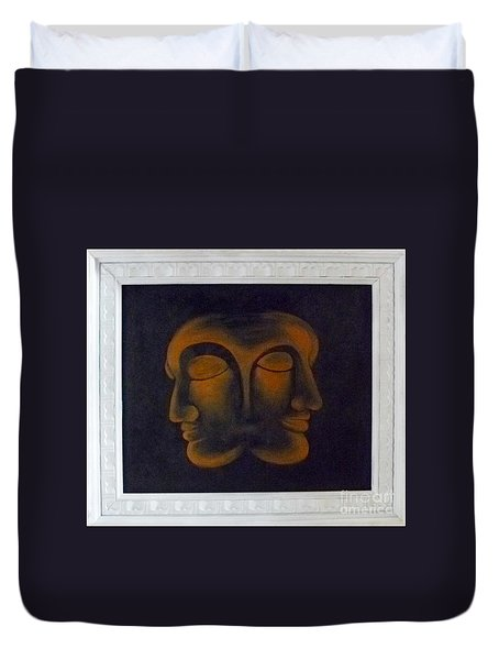 Duvet Cover featuring the painting Us by Fei A