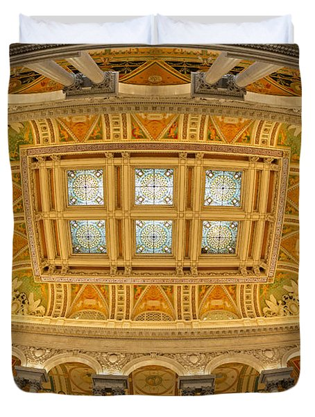 Us Library Of Congress Duvet Cover by Susan Candelario