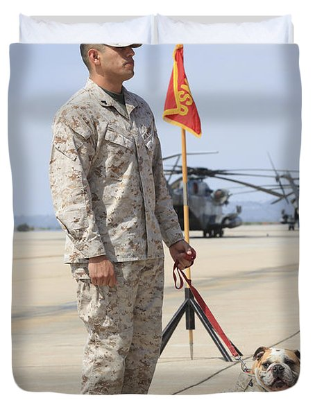 Duvet Cover featuring the photograph U.s. Marine And The Official Mascot by Stocktrek Images
