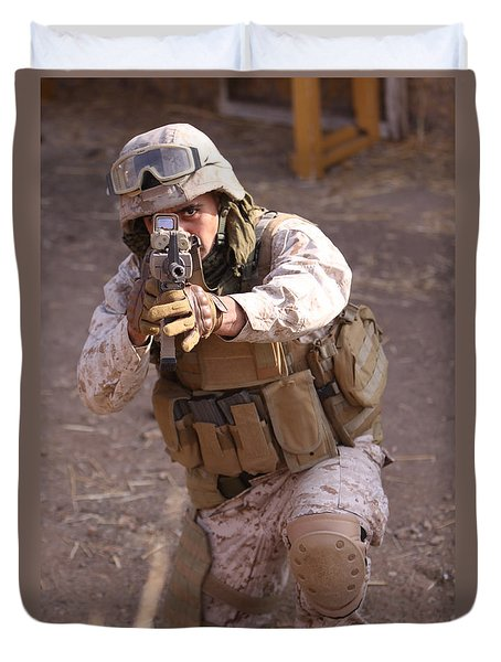 Us Marine At Work Duvet Cover by Shoal Hollingsworth