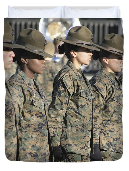 Duvet Cover featuring the photograph U.s. Marine Corps Female Drill by Stocktrek Images