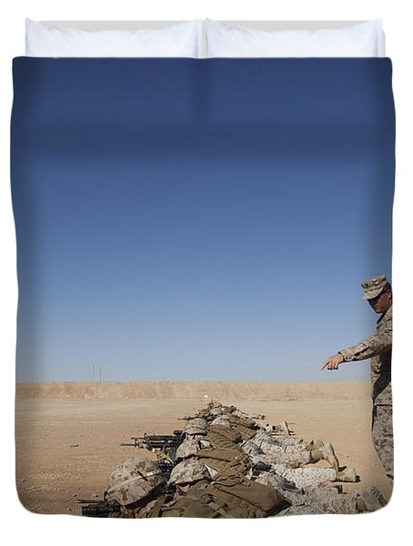 U.s. Marine Corps Officer Directs Duvet Cover by Stocktrek Images