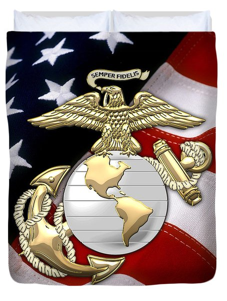 U. S. Marine Corps - U S M C Eagle Globe And Anchor Over American Flag. Duvet Cover