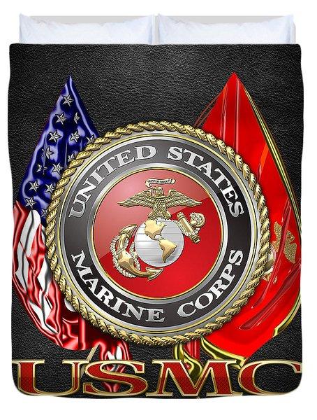 U. S. Marine Corps U S M C Emblem On Black Duvet Cover