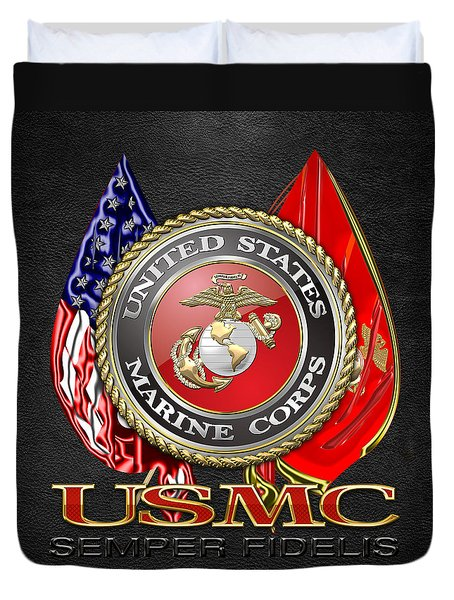 U. S. Marine Corps U S M C Emblem On Black Duvet Cover