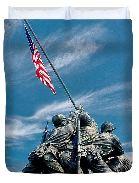 Us Marine Corps War Memorial Duvet Cover