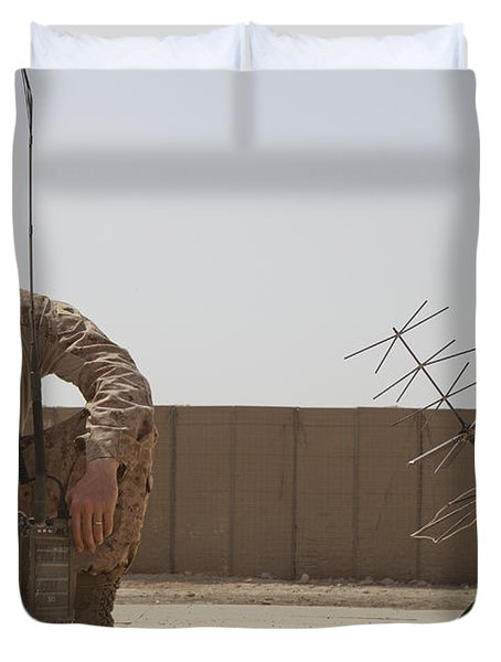 U.s. Marine Looks Up To The Sky While Duvet Cover by Stocktrek Images